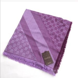 NWT Gucci Violet GG Wool Silk Large Square Scarf